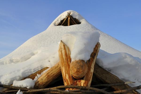 Крыша жилища - четырёхскатная с дымоходом. Сделана из брёвен, а сверху задернована