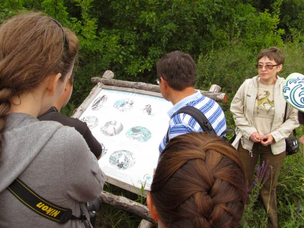 На всей протяженности экологической тропы, по которой мы шли, установлены аншлаги с  информацией о флоре, фауне и истории Молодецкого кургана