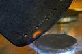 На этот раз мы будем делать простые кожаные наручи.  1. Для начала из плотного и толстого куска кожи вырезаем две...